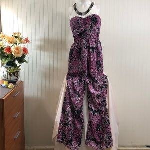 BAR lll Sexy Strapless Snakeskin Print Jumpsuit S